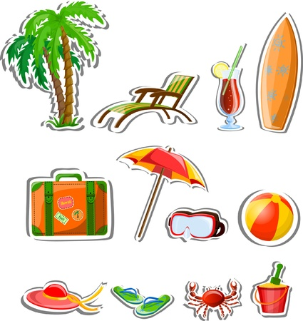 Travel icons, palm, ball, lounge, umbrella, flip-flops Stock Vector - 21637920