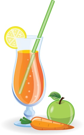 Apple and carrot cocktails picture  Vector