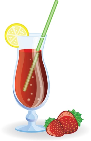 Strawberry cocktail  picture  Vector