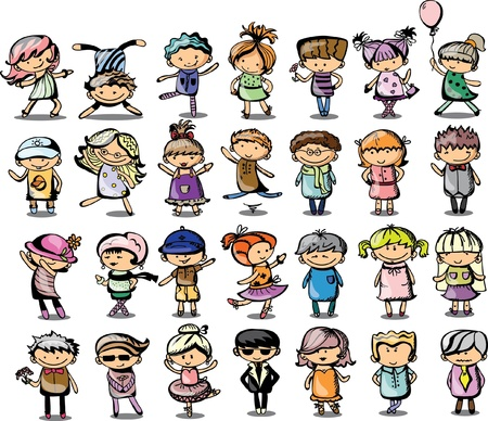 ethnicity happy: Cute cartoon kids