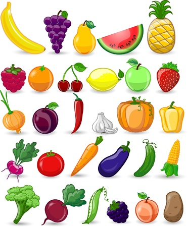 Cartoon vegetables and fruits Stock Vector - 22095287