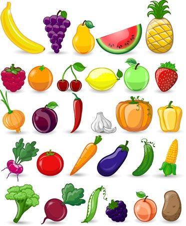 Legumes e frutas dos desenhos animados Foto de archivo - 22095287