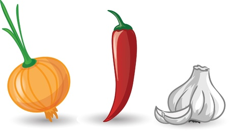 Cartoon garlic, onion and pepper  Vector