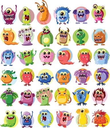 fictitious: Cartoon cute monsters