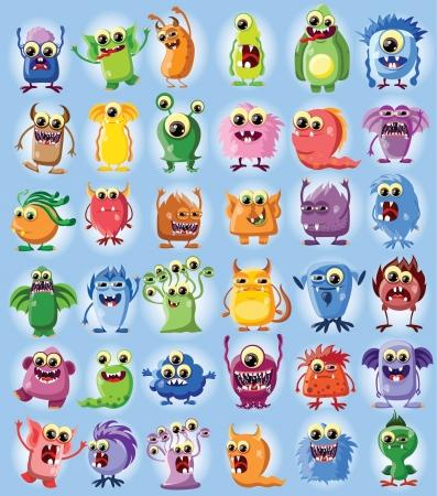 cute monster: Cartoon cute monsters