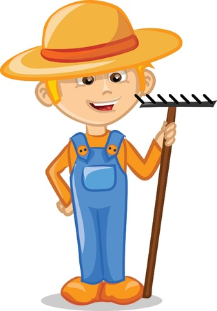 Cartoon character of cute farmer  向量圖像