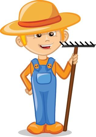 Cartoon character of cute farmer  Stock Illustratie
