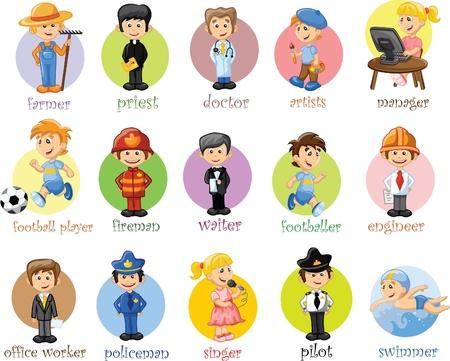 polizist: Cartoon Zeichen von verschiedenen Berufen