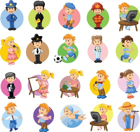 Cartoon characters of different professions  Ilustração
