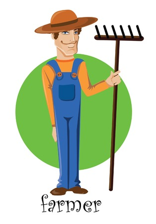 Cartoon character of cute farmer  Vector