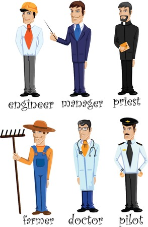 Cartoon characters of different professions Stock Vector - 22230170