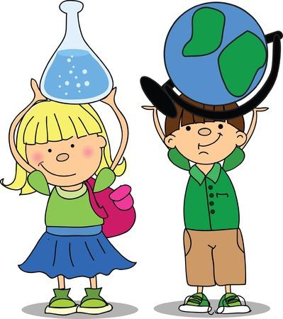 Pupils hold school things  Иллюстрация