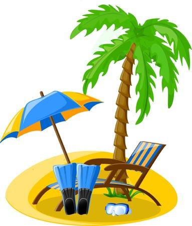 Travel icons, palm, ball, lounge, umbrella, flip-flops Stock Vector - 22230186