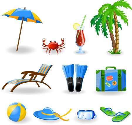 Travel icons, palm, ball, lounge, umbrella, flip-flops Stock Vector - 22230268