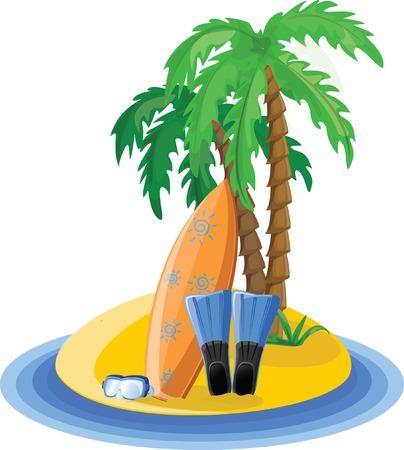 Travel icons, palm, ball, lounge, umbrella, flip-flops Stock Vector - 22230269