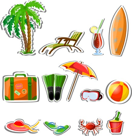 spanking: Travel vacation vector icons
