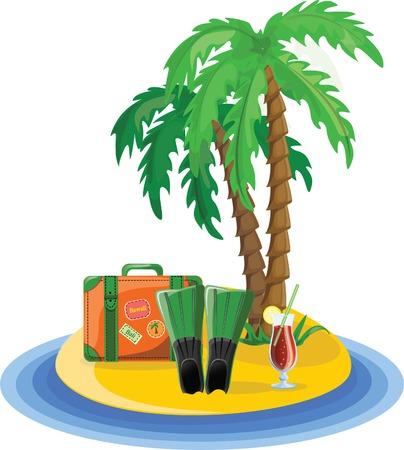 Travel icons, palm, ball, lounge, umbrella, flip-flops Stock Vector - 22230274