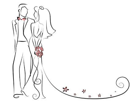 Silhouette de mari?e et le mari? Banque d'images - 22470255