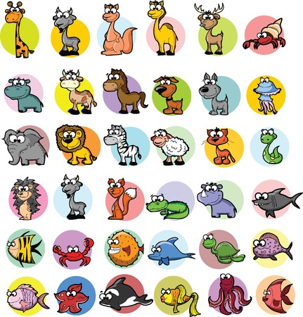 Set of cartoon animals  Vector