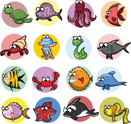 Set of cartoon fishes