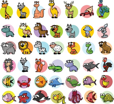 animal fauna: Set of cartoon vector animals
