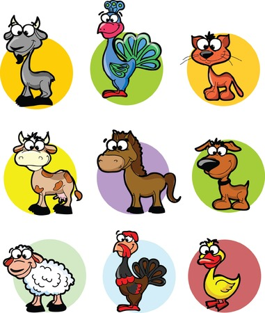 Set of cartoon vector farm animals  Vector
