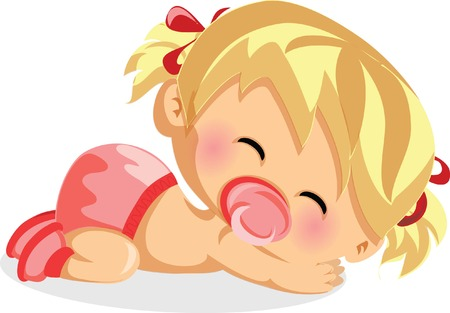 crying child: Vector illustration of baby girl
