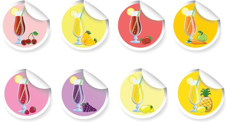 Set of different Fruit cocktails stickers Vector