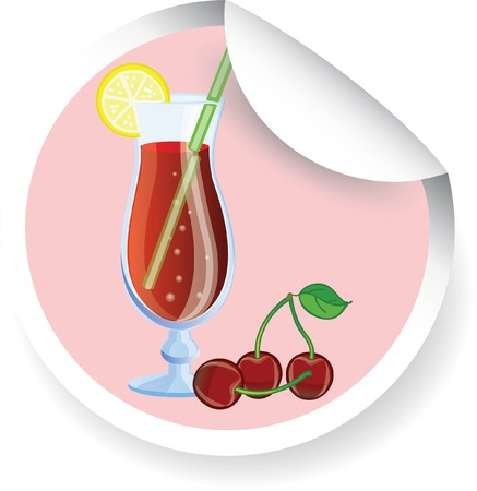 Sticker with Fruit cocktail, vector picture