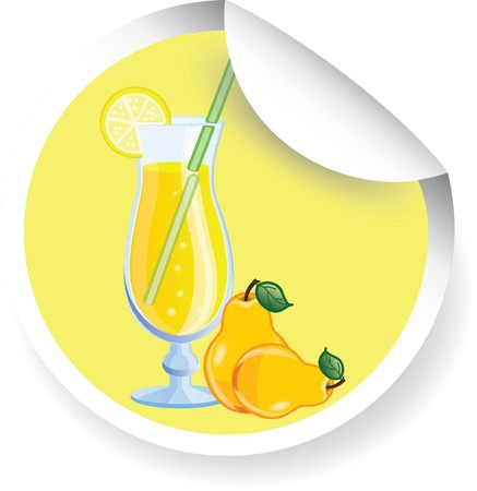 Sticker with Fruit cocktail, vector picture  Vector
