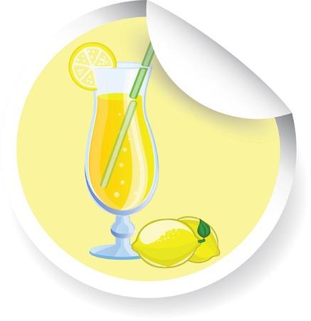verre de jus d orange: Autocollant avec le cocktail de fruits, image de vecteur Illustration
