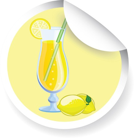 acid colors: Sticker with Fruit cocktail, vector picture