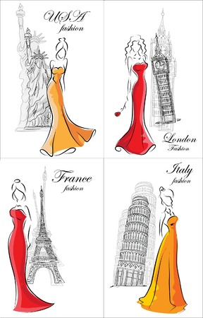 Set of fashion women in different country  Vector