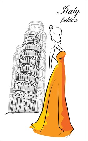 Fashion woman in Italy  Vector