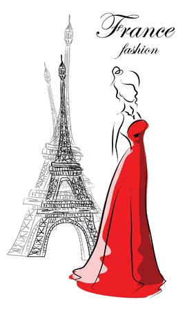 Fashion woman in France  Vector