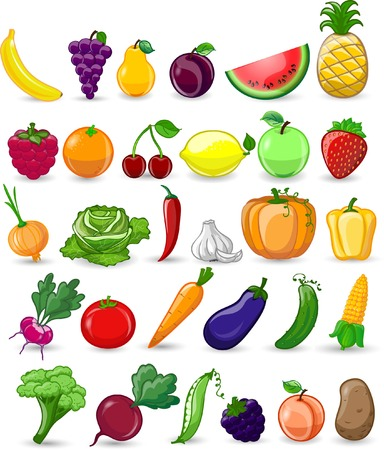 Cartoon vegetables and fruits Banco de Imagens - 22627978