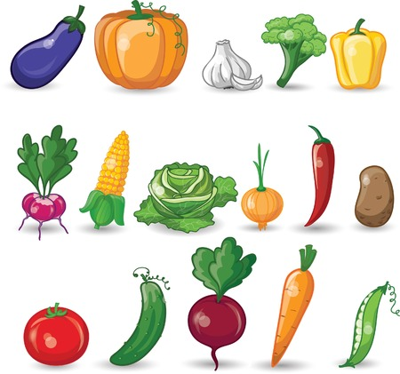Cartoon vegetables  向量圖像