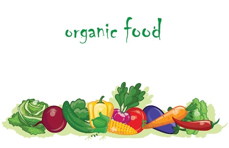 Cartoon vegetables, background  Stock Illustratie