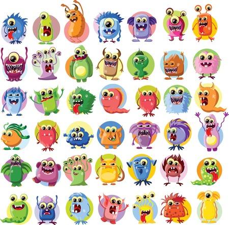 bacteria tooth: Cartoon cute monsters