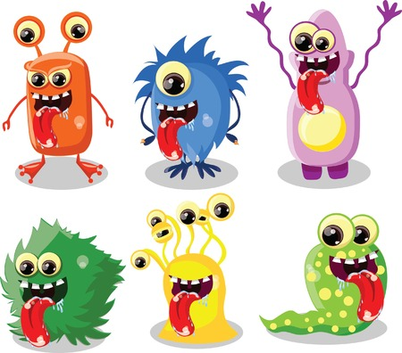 viruses: Caricatura lindo monstruo