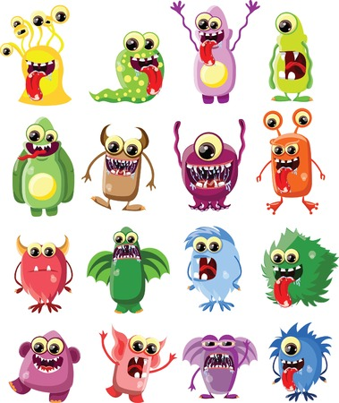 funny: Cartoon cute monsters with banner Illustration