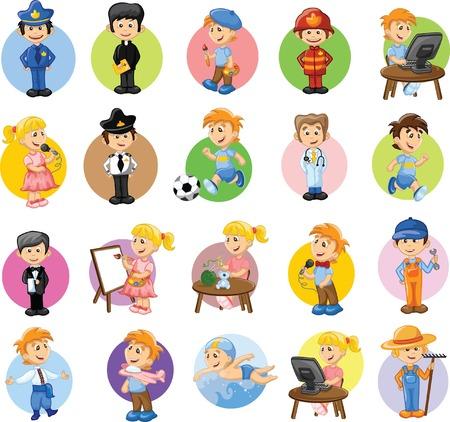 cartoon farmer: Cartoon characters of different professions  Illustration