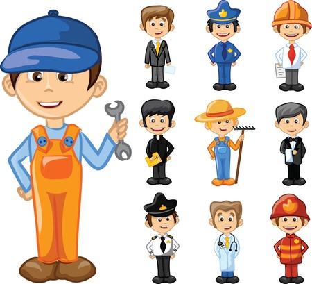 obrero caricatura: Personajes de dibujos animados de diferentes profesiones