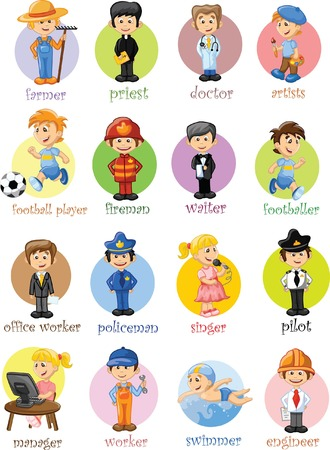 Cartoon characters of different professions  Illustration