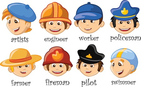 professional occupation: Cartoon characters of different professions  Illustration