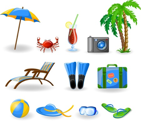 vacation summer: Travel icons, palm, ball, lounge, umbrella, flip-flops