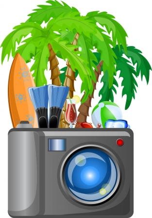 Travel icons, palm, ball, lounge, umbrella, flip-flops Stock Vector - 22812449