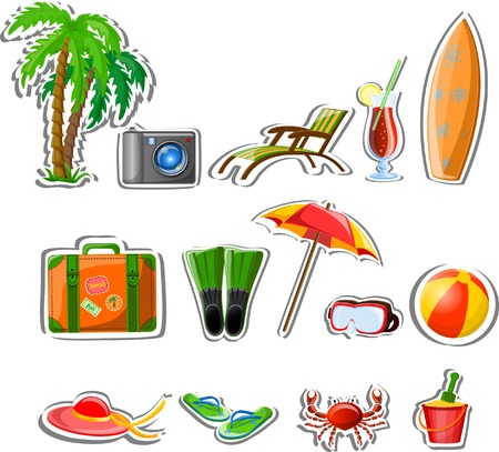 Travel icons, palm, ball, lounge, umbrella, flip-flops Stock Vector - 22812450