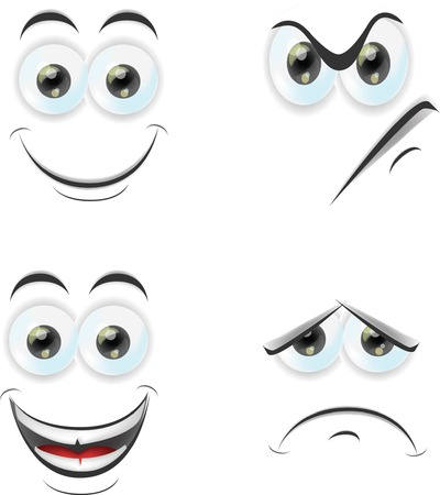 cartoon faces: Cartoon faces with emotions  Illustration