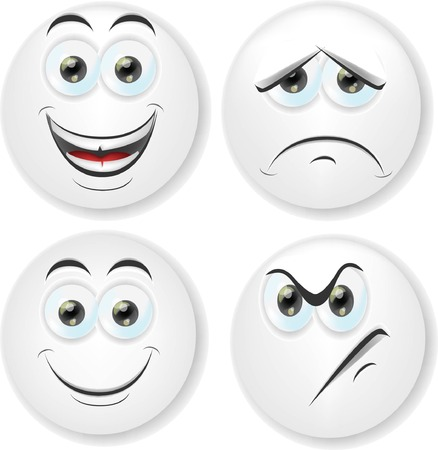 faces happy to sad: Cartoon faces with emotions  Illustration